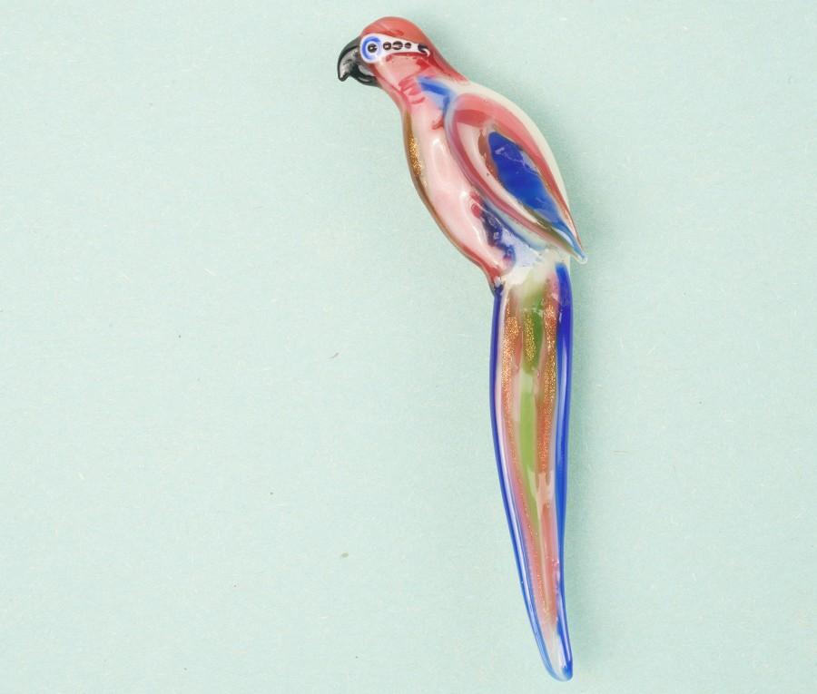 glass Macaw brooch