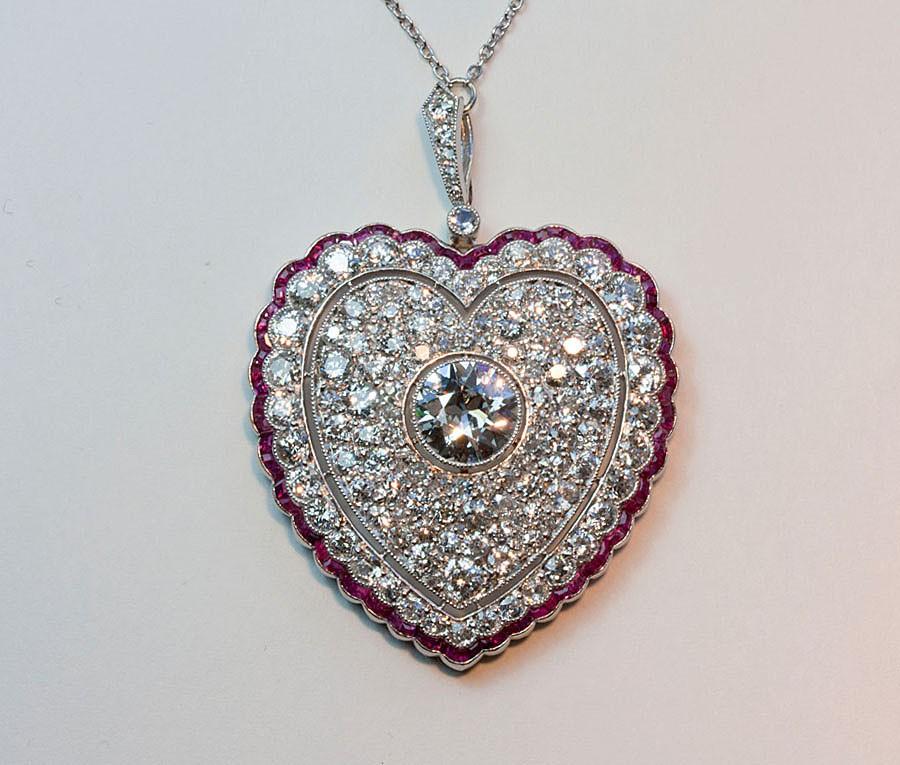 Diamond and ruby heart pendant inez stodel diamond and ruby heart pendant aloadofball Gallery