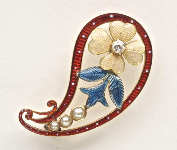 enamel paisley brooch
