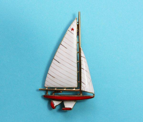 sailing boat brooch